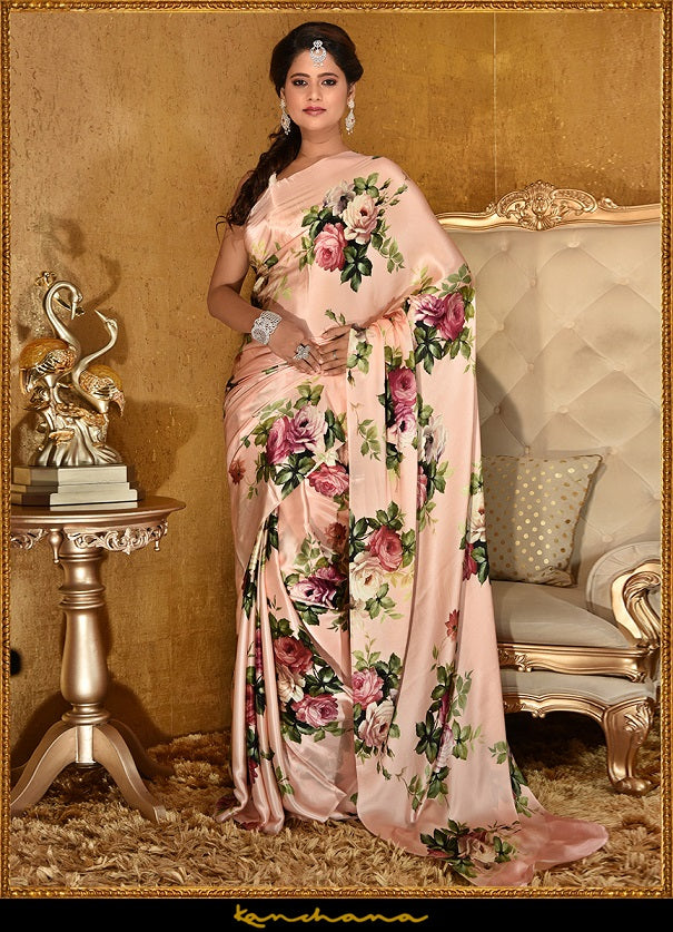 Shop beautiful peach floral screen print satin georgette saree online in USA. Make a fashion statement at weddings with stunning designer sarees, embroidered sarees with blouse, wedding sarees, handloom saris, printed saris from Pure Elegance Indian fashion store in USA.-full view