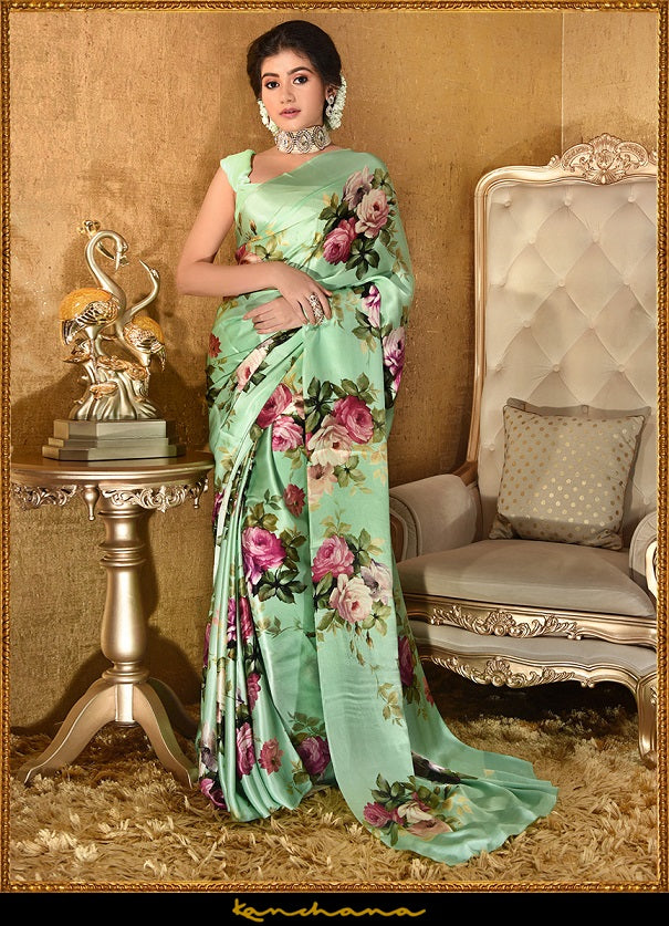 Buy stunning mint green floral screen print satin georgette saree online in USA. Make a fashion statement at weddings with stunning designer sarees, embroidered sarees with blouse, wedding sarees, handloom saris, printed saris from Pure Elegance Indian fashion store in USA.-full view