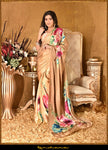 Buy gorgeous cream and beige satin georgette saree online in USA with floral digital print. Make a fashion statement at weddings with stunning designer sarees, embroidered sarees, wedding sarees, handloom saris, printed saris from Pure Elegance Indian fashion store in USA.-full view