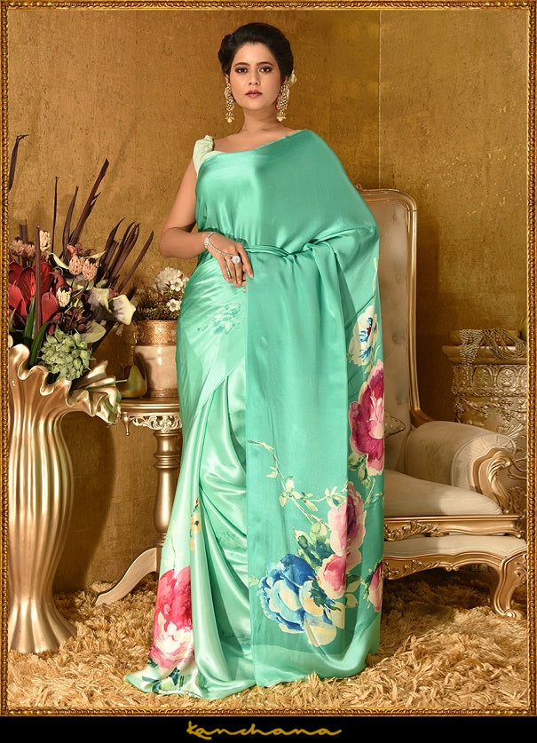 Buy beautiful mint green satin georgette saree online in USA with floral digital print. Make a fashion statement at weddings with stunning designer sarees, embroidered sarees, wedding sarees, handloom saris, printed saris from Pure Elegance Indian fashion store in USA.-full view