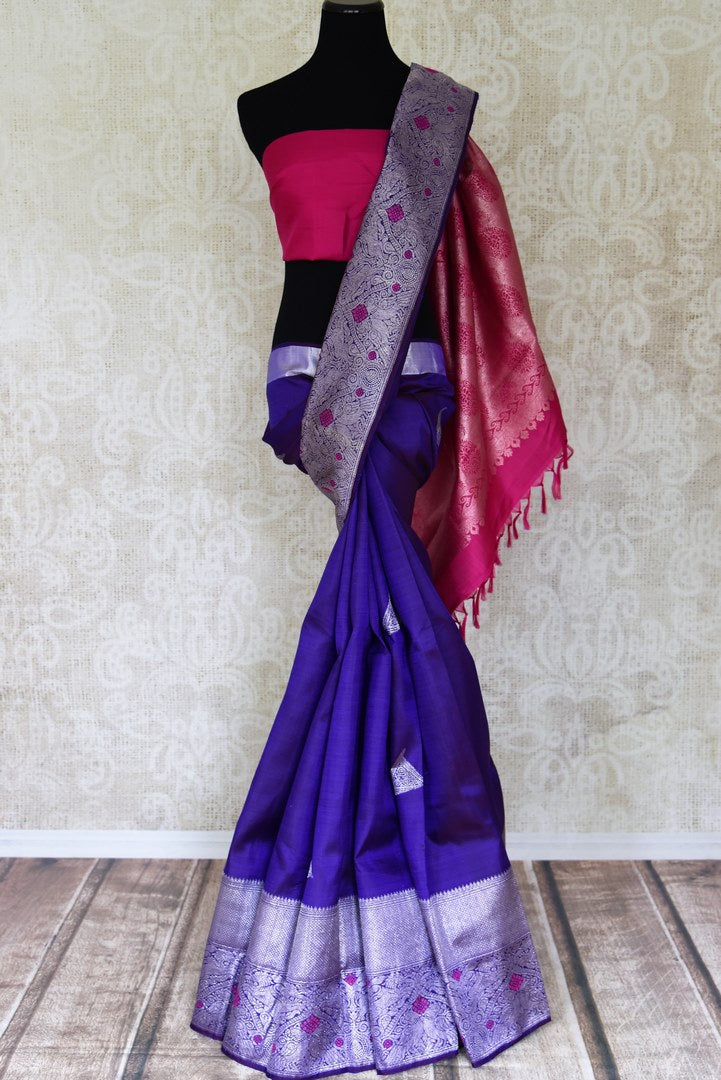 Shop attractive dark blue Kanjivaram saree online in USA with silver zari and pink buta. Look gorgeous on special occasions with exquisite Kanchipuram silk sarees, handwoven saris, Banarasi sarees, pure silk sarees from Pure Elegance Indian saree store in USA.-full view