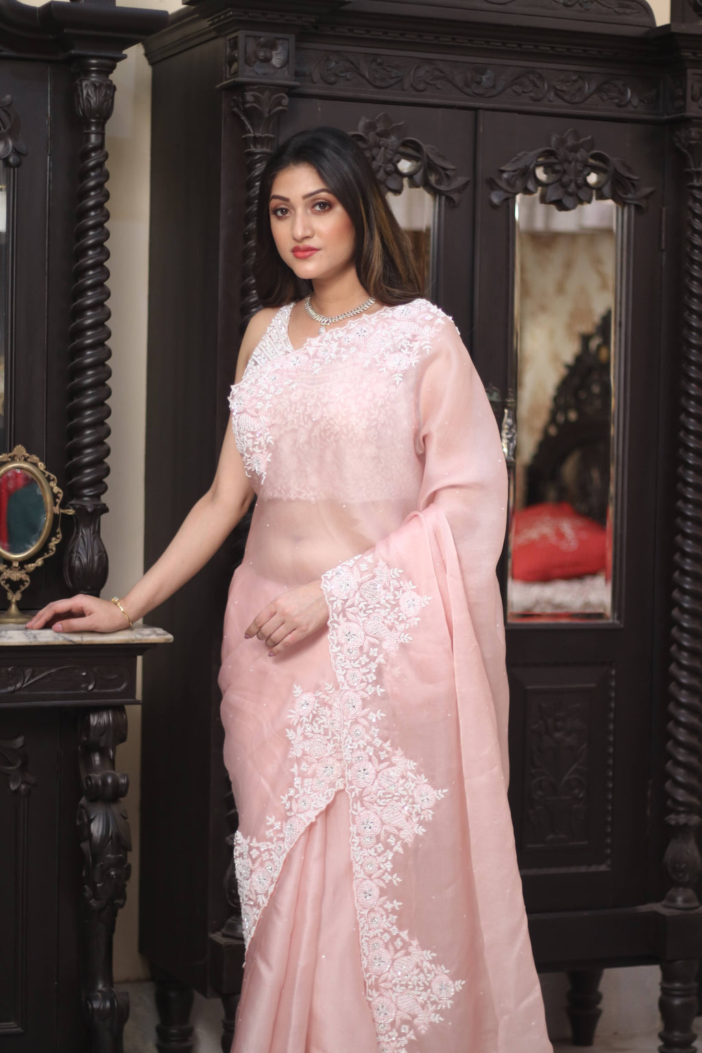 90Z247E-RO Powder Pink Hand Embroidered Designer Organza Sari with Embroidered Blouse
