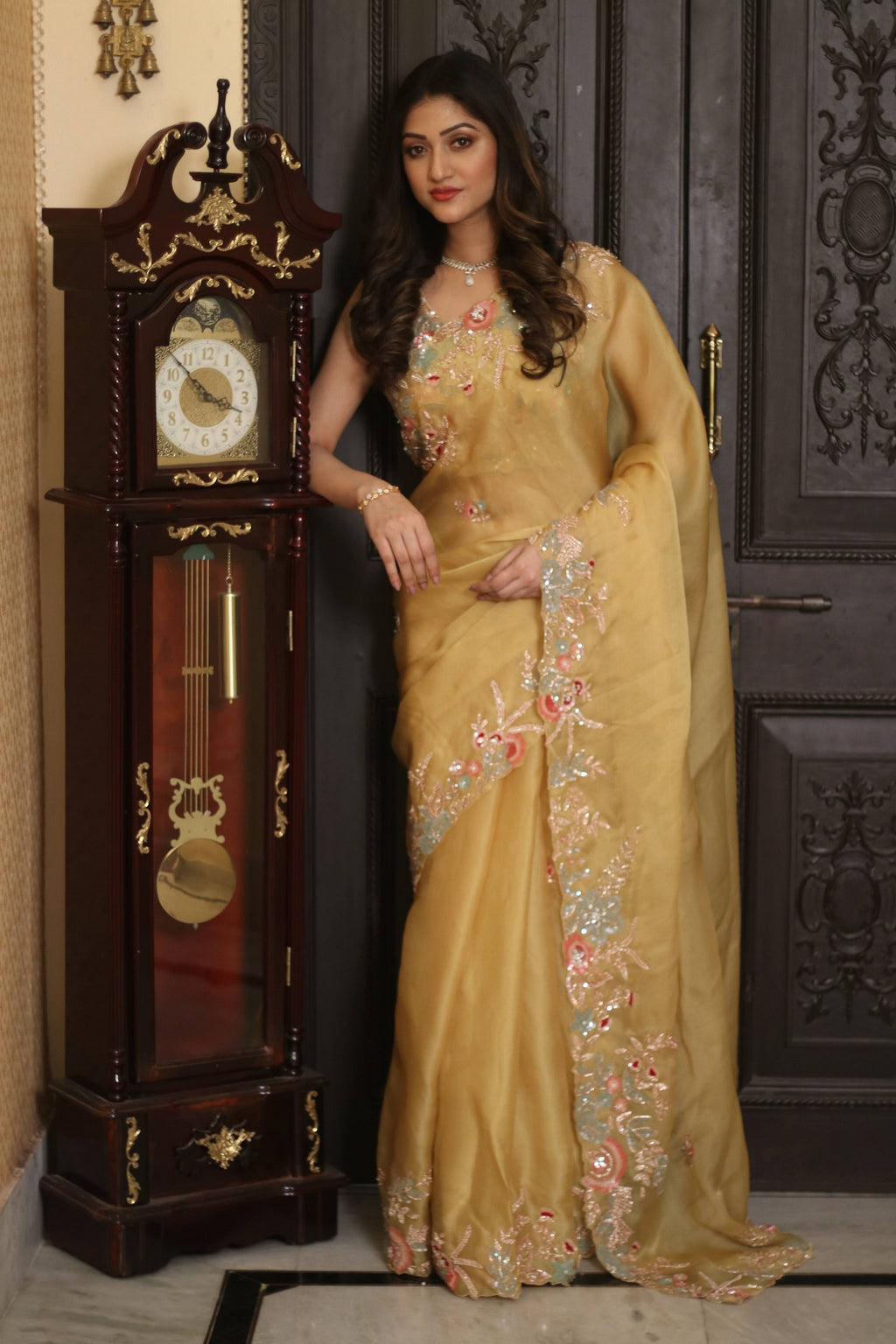 90Z247H-RO Yellow Hand Embroidered Designer Organza Sari with Embroidered Blouse