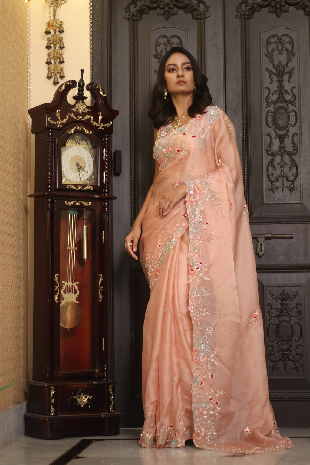 90Z247I-RO Peach Hand Embroidered Designer Organza Sari with Embroidered Blouse