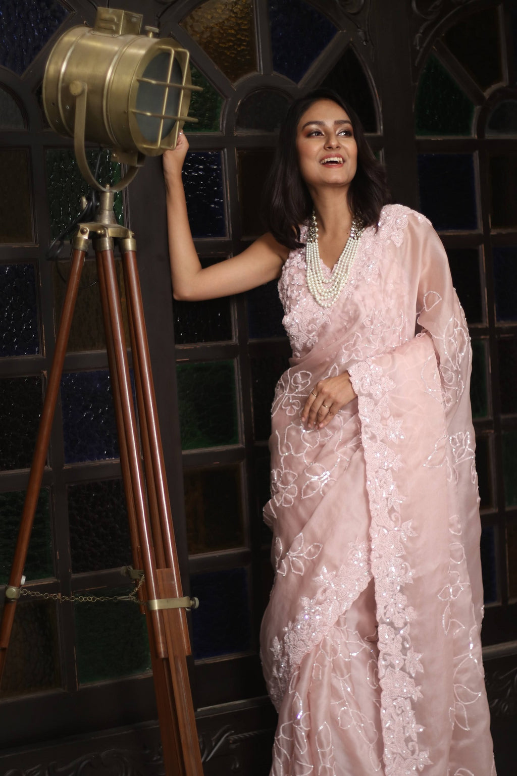 90Z247J-RO Powder Pink Hand Embroidered Designer Organza Sari with Embroidered Blouse