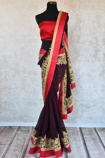 90A704 Chiffon sarees are a must-have in any Indian clothing collection & this brown and red saree with golden zari antique work can be bought from our ethnic clothing store online in USA.