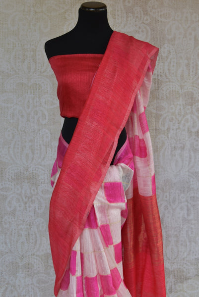 90B646 Red, white and pink matka banarasi sari online in USA at Pure Elegance. Buy this simple sari ideal for casual occasions, pujas & small wedding functions to add to your ethnic wear collection. Vintage with a dash of modern, this is indeed a unique Indian outfit.