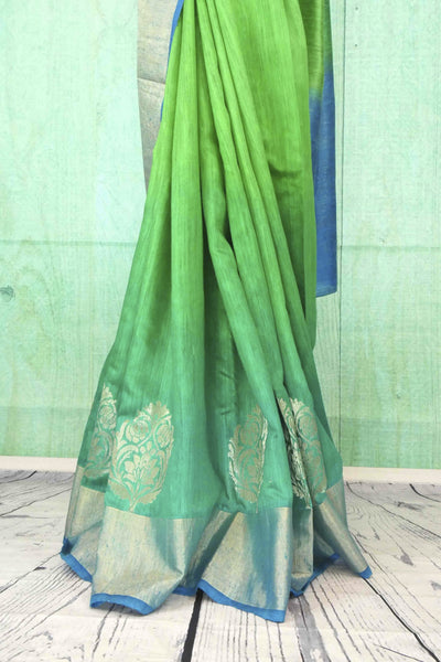 90C180 Gorgeous green blue saree online at Pure Elegance The traditional matka ghicha Banarasi sari from India is ideal to wear at festivals and ethnic parties. Buy this beautiful, simple saree today!