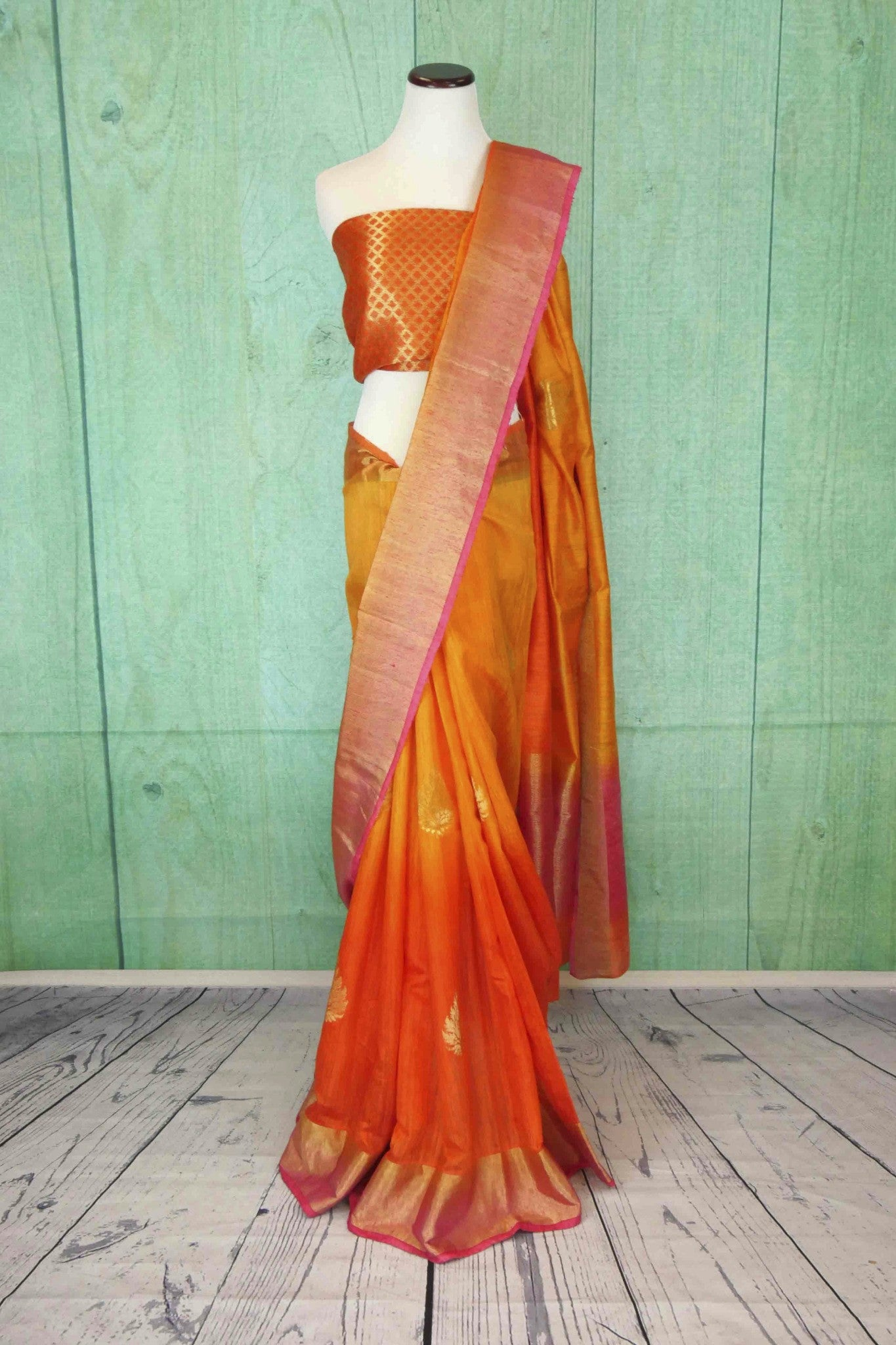 90C181 Shaded orange and yellow, matka ghicha benarasi saree, with a soft gold border and traditional motifs. Buy this Indian saree online in USA at Pure Elegance. This one's a versatile stunner!