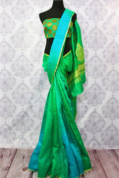 Buy green and blue matka Banarasi saree online in USA. Pure Elegance fashion store brings a stunning range of traditional Indian Matka sarees for weddings in USA.-full view
