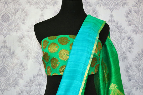Buy green and blue matka Banarasi saree online in USA. Pure Elegance fashion store brings a stunning range of traditional Indian Matka sarees for weddings in USA.-blouse pallu