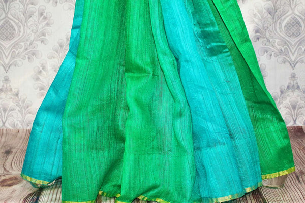Buy green and blue matka Banarasi saree online in USA. Pure Elegance fashion store brings a stunning range of traditional Indian Matka sarees for weddings in USA.-pleats