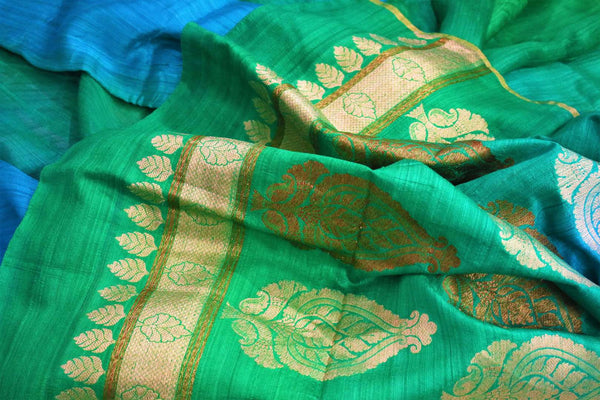 Buy green and blue matka Banarasi saree online in USA. Pure Elegance fashion store brings a stunning range of traditional Indian Matka sarees for weddings in USA.-details