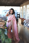 Buy light pink shimmer tussar georgette saree online in USA with hand gota patti work. Enhance your ethnic look with beautiful Indian designer sarees from Pure Elegance. Shop from a splendid collection of Banarasi sarees, traditional silk saris, Kanchipuram sarees from our exclusive Indian clothing store in USA.-full view