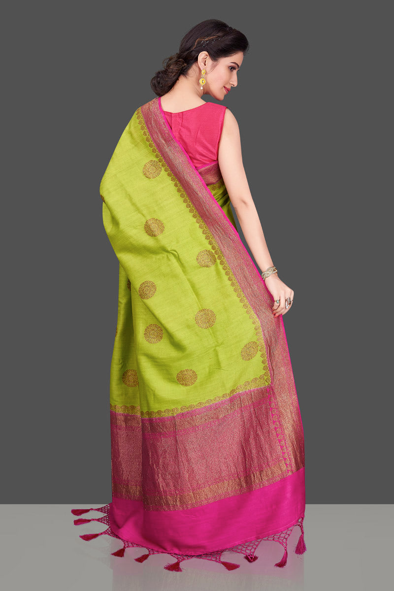 Buy pista green muga Banarasi saree online in USA with pink zari border. Shop beautiful Banarasi sarees, georgette sarees, pure muga silk sarees in USA from Pure Elegance Indian fashion boutique in USA. Get spoiled for choices with a splendid variety of Indian saris to choose from! Shop now.-back