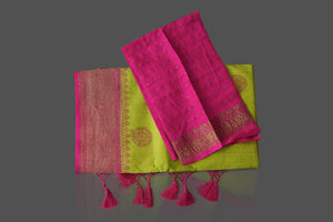 Buy pista green muga Banarasi saree online in USA with pink zari border. Shop beautiful Banarasi sarees, georgette sarees, pure muga silk sarees in USA from Pure Elegance Indian fashion boutique in USA. Get spoiled for choices with a splendid variety of Indian saris to choose from! Shop now.-details