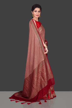Buy charming dusty pink georgette Banarasi saree online in USA with red zari border. Shop beautiful Banarasi sarees, georgette sarees, pure muga silk sarees in USA from Pure Elegance Indian fashion boutique in USA. Get spoiled for choices with a splendid variety of Indian saris to choose from! Shop now.-side