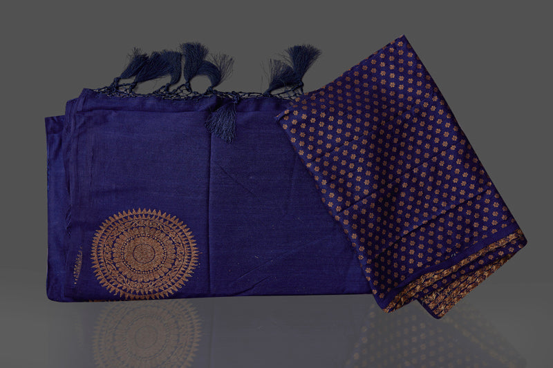 Shop navy borderless muga Banarasi saree online in USA with big antique zari buta. Shop beautiful Banarasi sarees, georgette sarees, pure muga silk sarees in USA from Pure Elegance Indian fashion boutique in USA. Get spoiled for choices with a splendid variety of designer saris to choose from! Shop now.-details