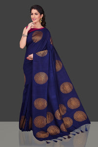 Shop navy borderless muga Banarasi saree online in USA with big antique zari buta. Shop beautiful Banarasi sarees, georgette sarees, pure muga silk sarees in USA from Pure Elegance Indian fashion boutique in USA. Get spoiled for choices with a splendid variety of designer saris to choose from! Shop now.-full view