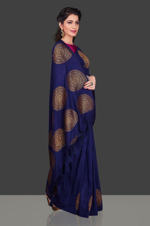 Shop navy borderless muga Banarasi saree online in USA with big antique zari buta. Shop beautiful Banarasi sarees, georgette sarees, pure muga silk sarees in USA from Pure Elegance Indian fashion boutique in USA. Get spoiled for choices with a splendid variety of designer saris to choose from! Shop now.-side