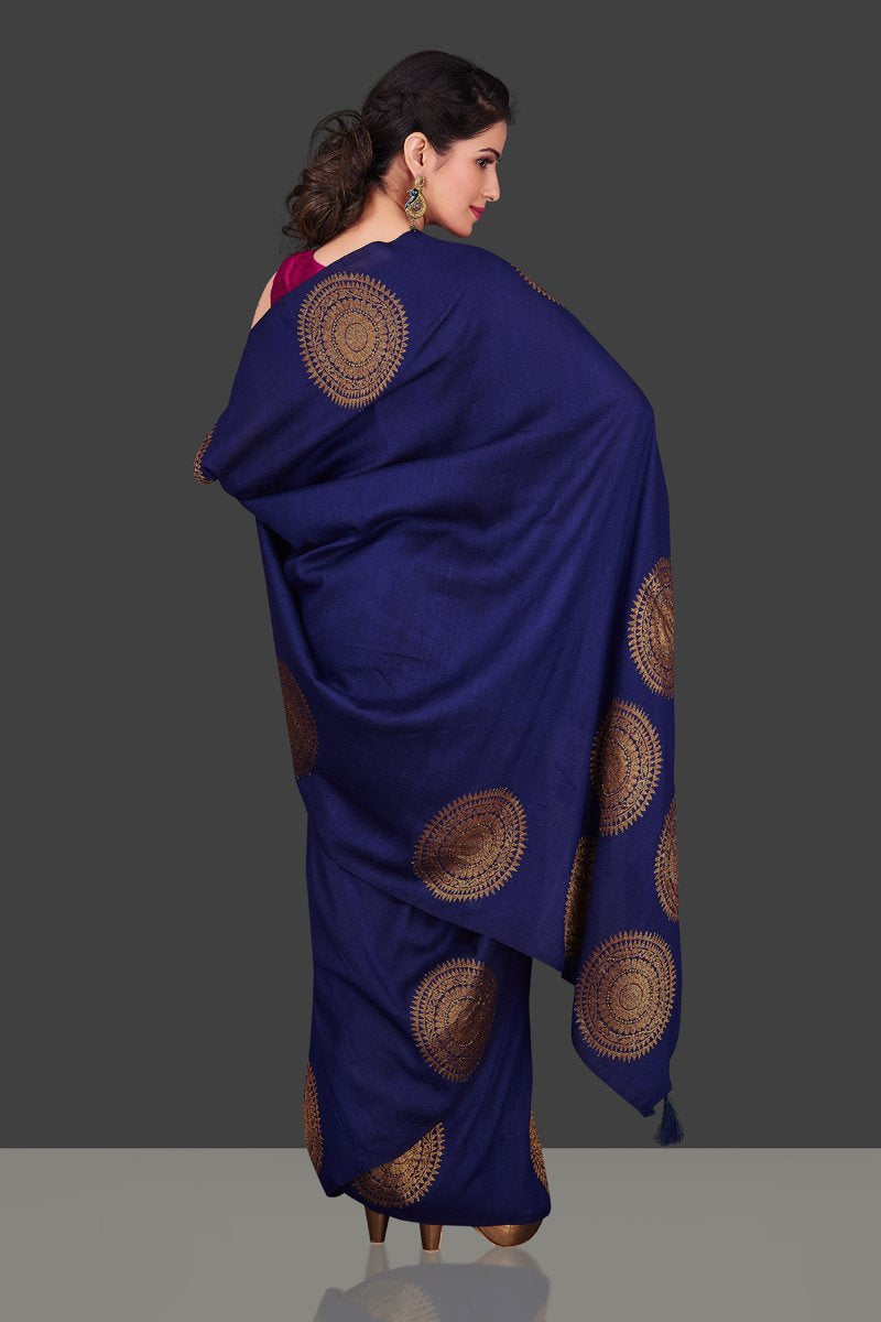 Shop navy borderless muga Banarasi saree online in USA with big antique zari buta. Shop beautiful Banarasi sarees, georgette sarees, pure muga silk sarees in USA from Pure Elegance Indian fashion boutique in USA. Get spoiled for choices with a splendid variety of designer saris to choose from! Shop now.-back