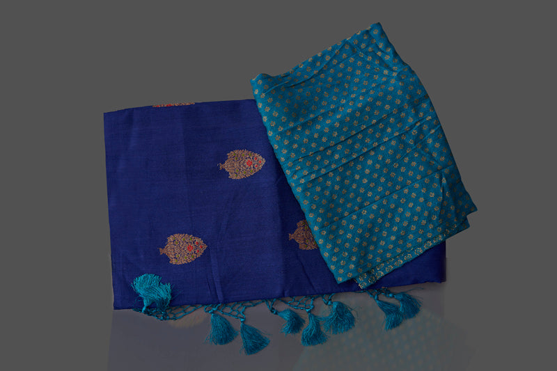 Buy stunning dark blue borderless muga Banarasi sari online in USA with floral zari buta. Shop beautiful Banarasi sarees, georgette sarees, pure muga silk sarees in USA from Pure Elegance Indian fashion boutique in USA. Get spoiled for choices with a splendid variety of designer saris to choose from! Shop now.-details