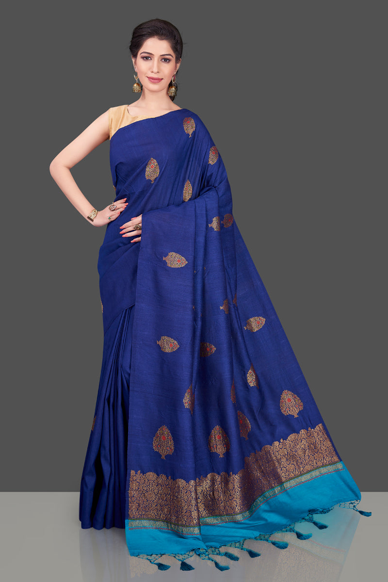 90J554-RO Dark Blue Borderless Muga Banarasi Sari with Floral Zari Buta