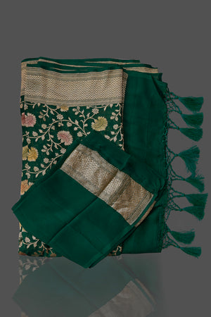 Buy dark green Benarasi georgette sari online in USA with floral zari jaal. Shop beautiful Banarasi georgette sarees, tussar sarees, pure muga silk saris in USA from Pure Elegance Indian fashion boutique in USA. Get spoiled for choices with a splendid variety of Indian sarees to choose from! Shop now.-details