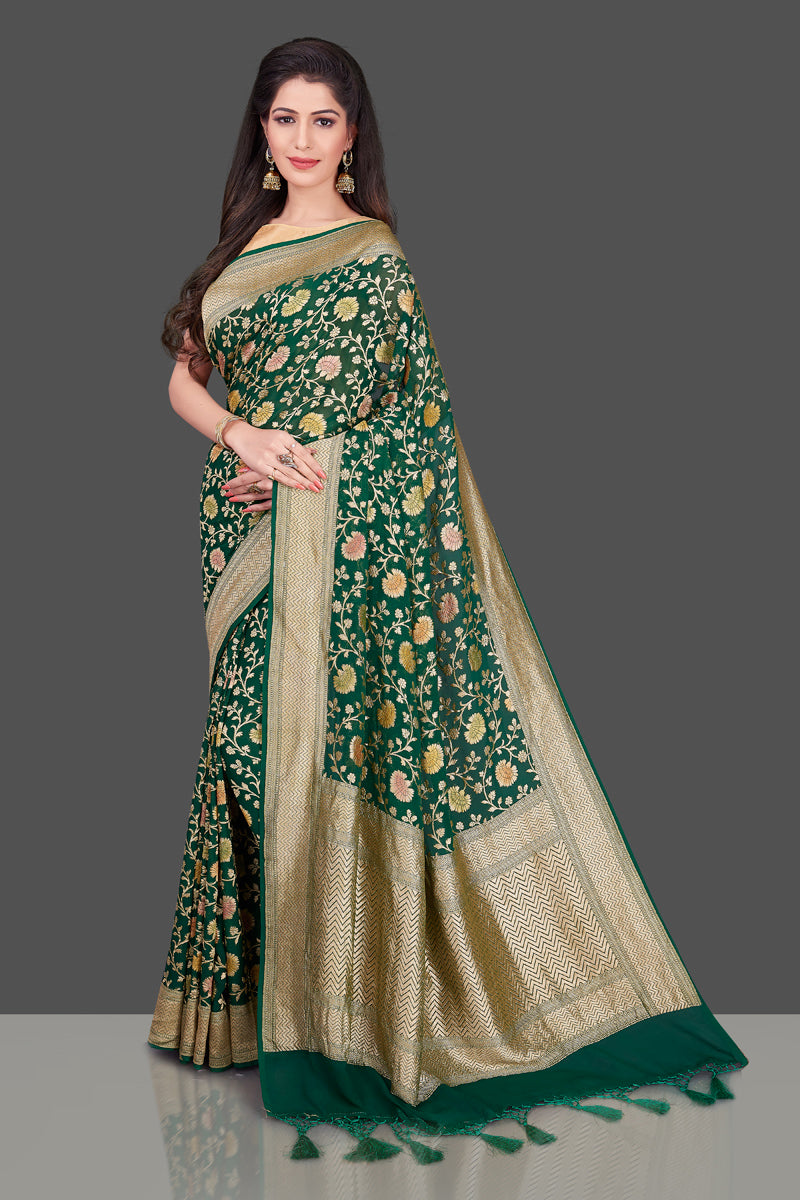 Buy dark green Benarasi georgette sari online in USA with floral zari jaal. Shop beautiful Banarasi georgette sarees, tussar sarees, pure muga silk saris in USA from Pure Elegance Indian fashion boutique in USA. Get spoiled for choices with a splendid variety of Indian sarees to choose from! Shop now.-full view