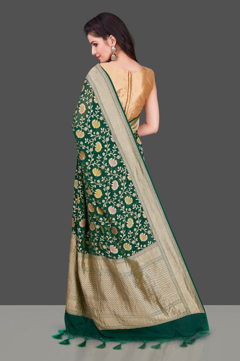 Buy dark green Benarasi georgette sari online in USA with floral zari jaal. Shop beautiful Banarasi georgette sarees, tussar sarees, pure muga silk saris in USA from Pure Elegance Indian fashion boutique in USA. Get spoiled for choices with a splendid variety of Indian sarees to choose from! Shop now.-back