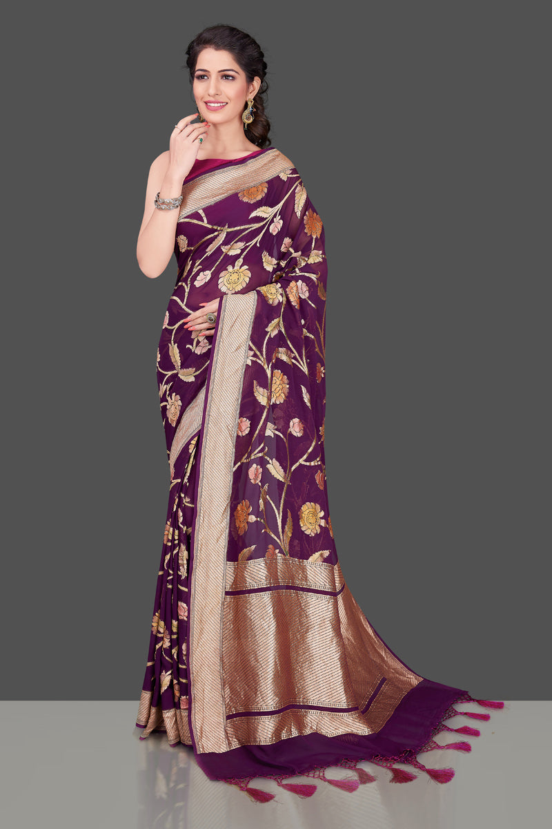 Shop purple Banarasi georgette saree online in USA with floral zari jaal. Shop beautiful Banarasi georgette sarees, tussar sarees, pure muga silk saris in USA from Pure Elegance Indian fashion boutique in USA. Get spoiled for choices with a splendid variety of Indian sarees to choose from! Shop now.-full view