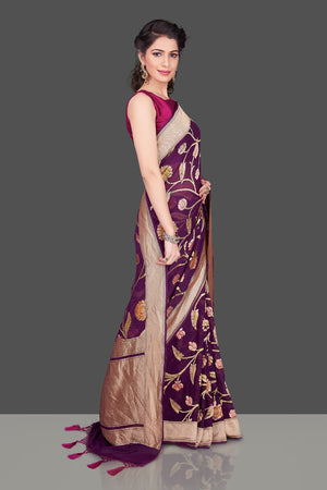 Shop purple Banarasi georgette saree online in USA with floral zari jaal. Shop beautiful Banarasi georgette sarees, tussar sarees, pure muga silk saris in USA from Pure Elegance Indian fashion boutique in USA. Get spoiled for choices with a splendid variety of Indian sarees to choose from! Shop now.-side