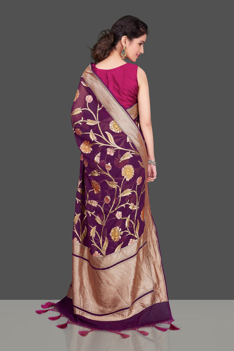 Shop purple Banarasi georgette saree online in USA with floral zari jaal. Shop beautiful Banarasi georgette sarees, tussar sarees, pure muga silk saris in USA from Pure Elegance Indian fashion boutique in USA. Get spoiled for choices with a splendid variety of Indian sarees to choose from! Shop now.-back