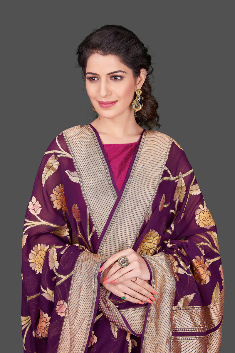 Shop purple Banarasi georgette saree online in USA with floral zari jaal. Shop beautiful Banarasi georgette sarees, tussar sarees, pure muga silk saris in USA from Pure Elegance Indian fashion boutique in USA. Get spoiled for choices with a splendid variety of Indian sarees to choose from! Shop now.-closuep