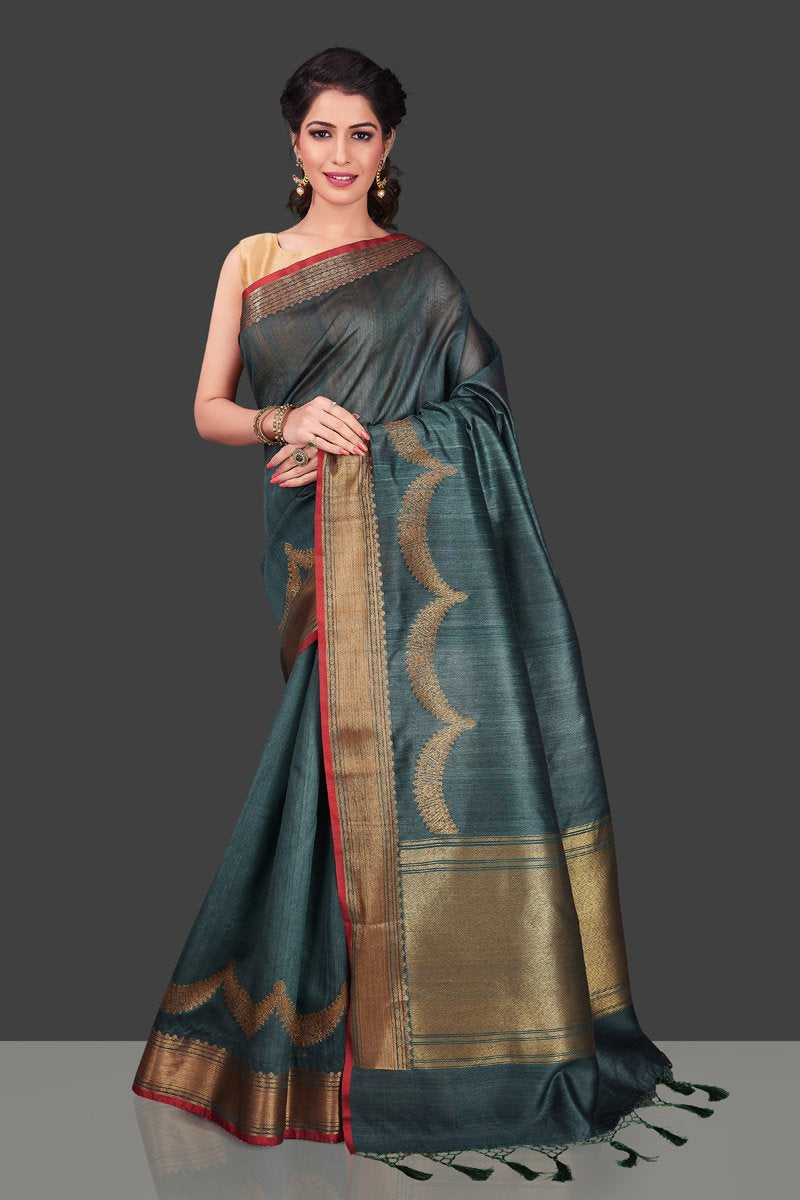 Buy stunning grey tassar Banarasi sari in USA with antique zari border. Shop beautiful Banarasi georgette sarees, tussar saris, pure muga silk saris in USA from Pure Elegance Indian fashion boutique in USA. Get spoiled for choices with a splendid variety of Indian sarees to choose from! Shop now.-full view