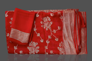Buy bright red Banarasi georgette saree online in USA with floral zari work. Shop beautiful Banarasi georgette sarees, tussar saris, pure muga silk saris in USA from Pure Elegance Indian fashion boutique in USA. Get spoiled for choices with a splendid variety of Indian sarees to choose from! Shop now.-details