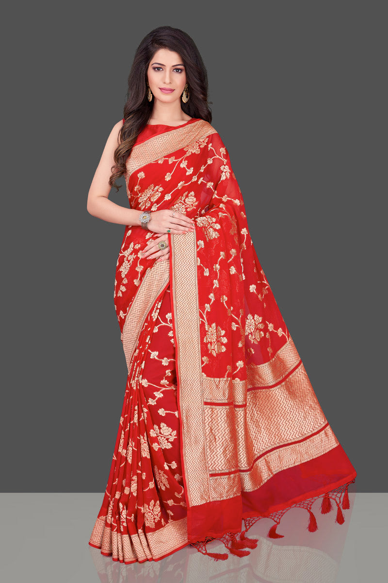 Buy bright red Banarasi georgette saree online in USA with floral zari work. Shop beautiful Banarasi georgette sarees, tussar saris, pure muga silk saris in USA from Pure Elegance Indian fashion boutique in USA. Get spoiled for choices with a splendid variety of Indian sarees to choose from! Shop now.-full view
