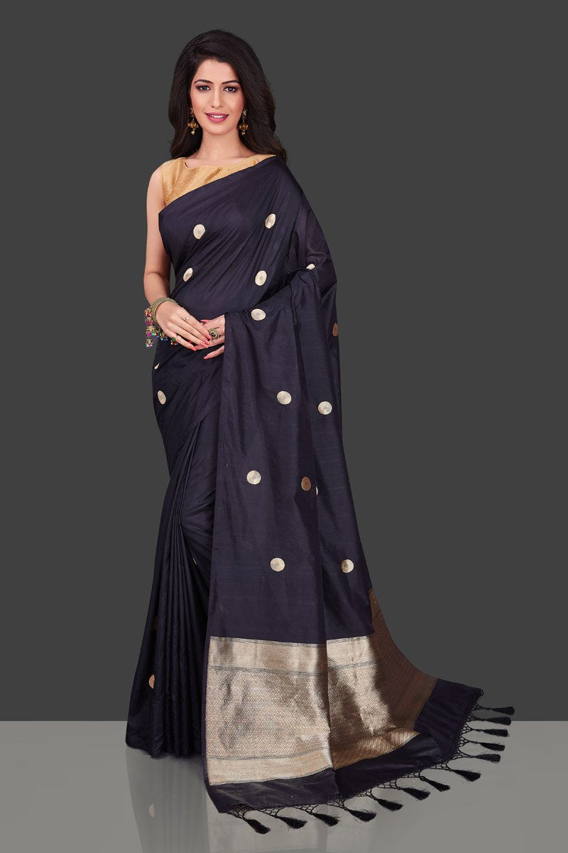 Shop stunning black borderless Banarasi sari in USA with polka zari buta. Shop beautiful Banarasi georgette sarees, tussar saris, pure muga silk saris in USA from Pure Elegance Indian fashion boutique in USA. Get spoiled for choices with a splendid variety of Indian sarees to choose from! Shop now.-full view