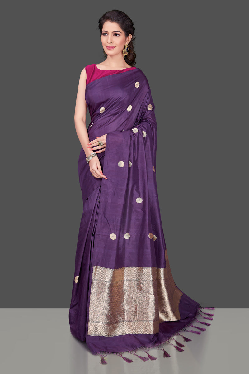 Shop online purple borderless Banarasi saree in USA with polka zari buta. Shop beautiful Banarasi georgette sarees, tussar saris, pure muga silk saris in USA from Pure Elegance Indian fashion boutique in USA. Get spoiled for choices with a splendid variety of Indian sarees to choose from! Shop now.-full view