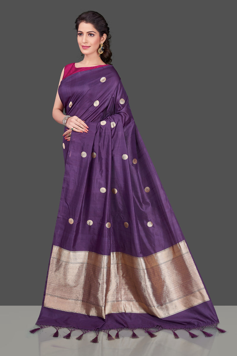 Shop online purple borderless Banarasi saree in USA with polka zari buta. Shop beautiful Banarasi georgette sarees, tussar saris, pure muga silk saris in USA from Pure Elegance Indian fashion boutique in USA. Get spoiled for choices with a splendid variety of Indian sarees to choose from! Shop now.-front