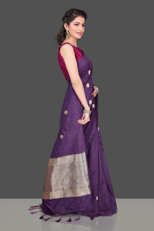 Shop online purple borderless Banarasi saree in USA with polka zari buta. Shop beautiful Banarasi georgette sarees, tussar saris, pure muga silk saris in USA from Pure Elegance Indian fashion boutique in USA. Get spoiled for choices with a splendid variety of Indian sarees to choose from! Shop now.-side