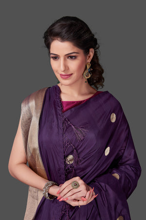 Shop online purple borderless Banarasi saree in USA with polka zari buta. Shop beautiful Banarasi georgette sarees, tussar saris, pure muga silk saris in USA from Pure Elegance Indian fashion boutique in USA. Get spoiled for choices with a splendid variety of Indian sarees to choose from! Shop now.-closeup