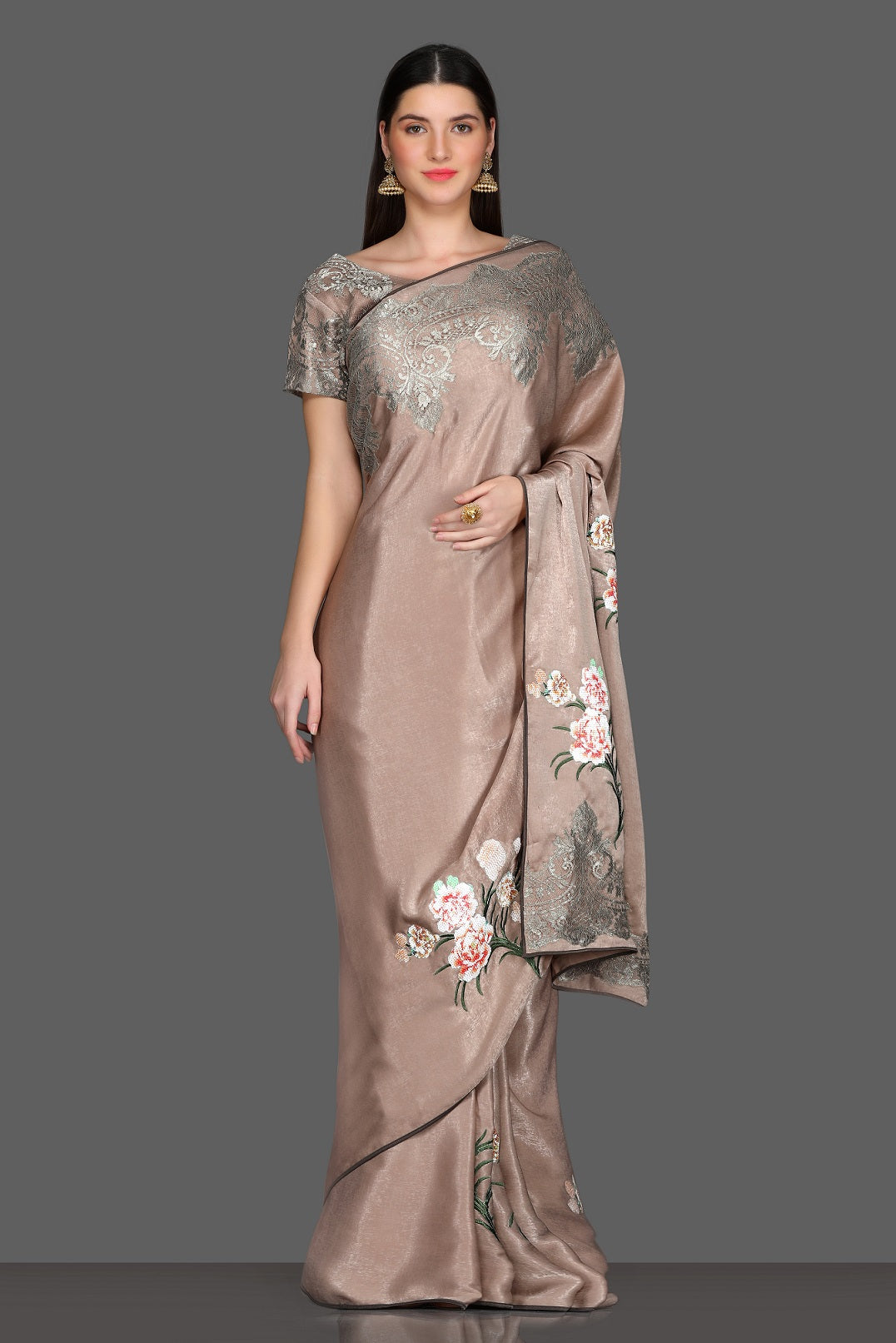 Buy lovely beige embroidered designer sari online in USA with embroidered saree blouse. Make a fashion statement at parties with stunning designer sarees from Pure Elegance Indian fashion store in USA.-full view