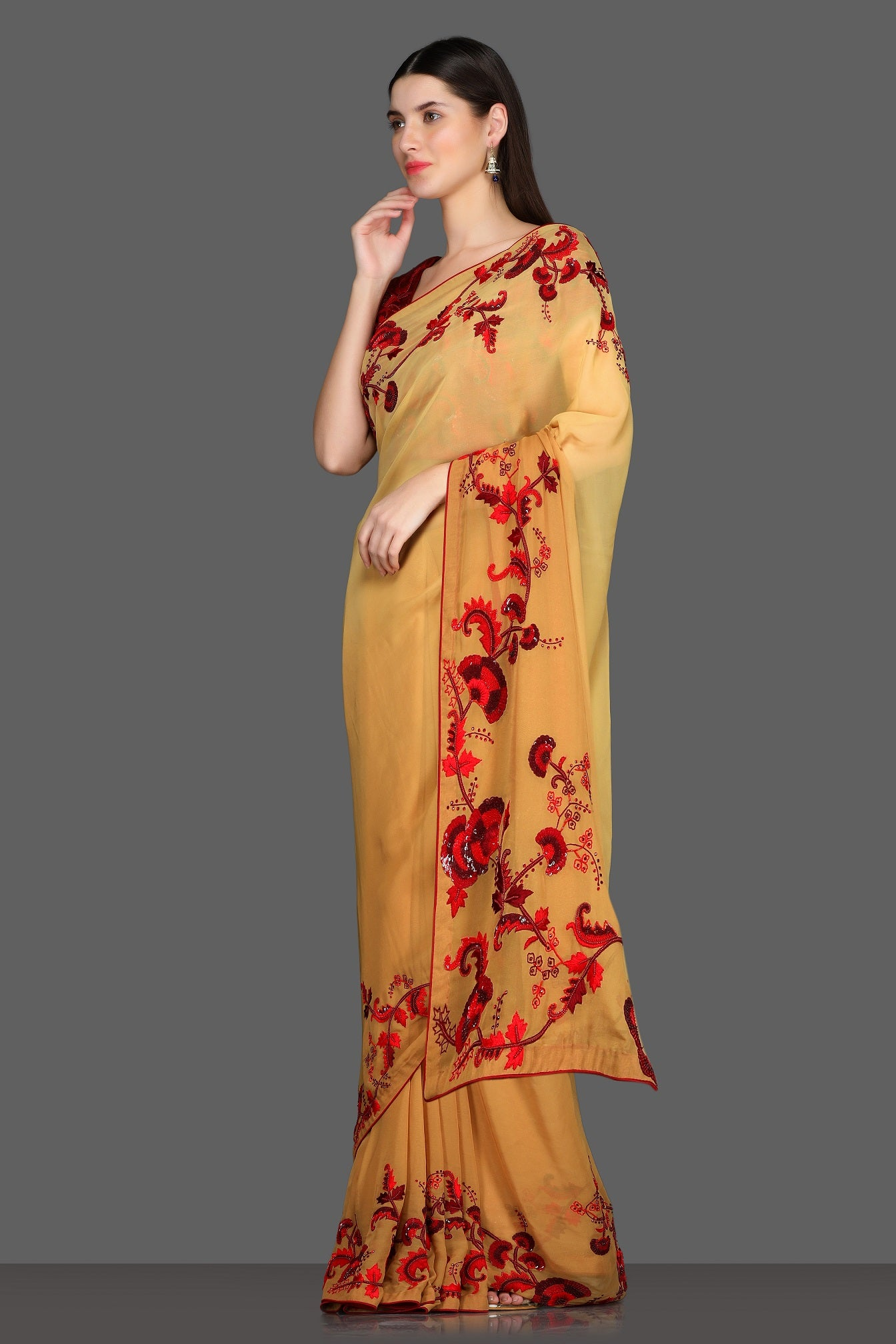 Buy yellow embroidered saree online in USA with red embroidered saree blouse. Make a fashion statement at parties with stunning designer sarees from Pure Elegance Indian fashion store in USA.-side