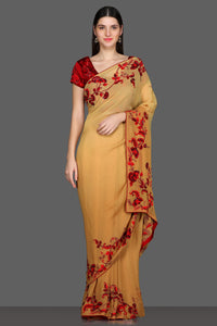 Buy yellow embroidered saree online in USA with red embroidered saree blouse. Make a fashion statement at parties with stunning designer sarees from Pure Elegance Indian fashion store in USA.-full view