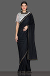 Buy ravishing black embroidered saree online in USA with grey embroidered saree blouse. Make a fashion statement at parties with stunning designer sarees from Pure Elegance Indian fashion store in USA.-full view
