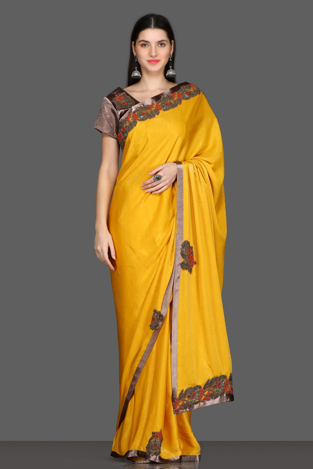 Buy yellow embroidered saree online in USA with brown embroidered sari blouse. Make a fashion statement at parties with stunning designer sarees from Pure Elegance Indian fashion store in USA.-full view