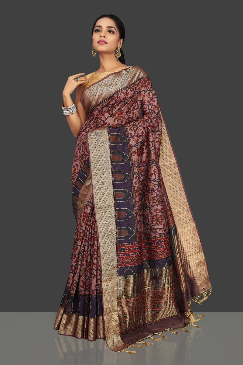 Buy mauve floral print muga saree online in USA with zari border. Be the center of attraction at weddings and parties with your captivating ethnic style in beautiful pure silk sarees. handwoven sarees from Pure Elegance Indian fashion store in USA.-full view