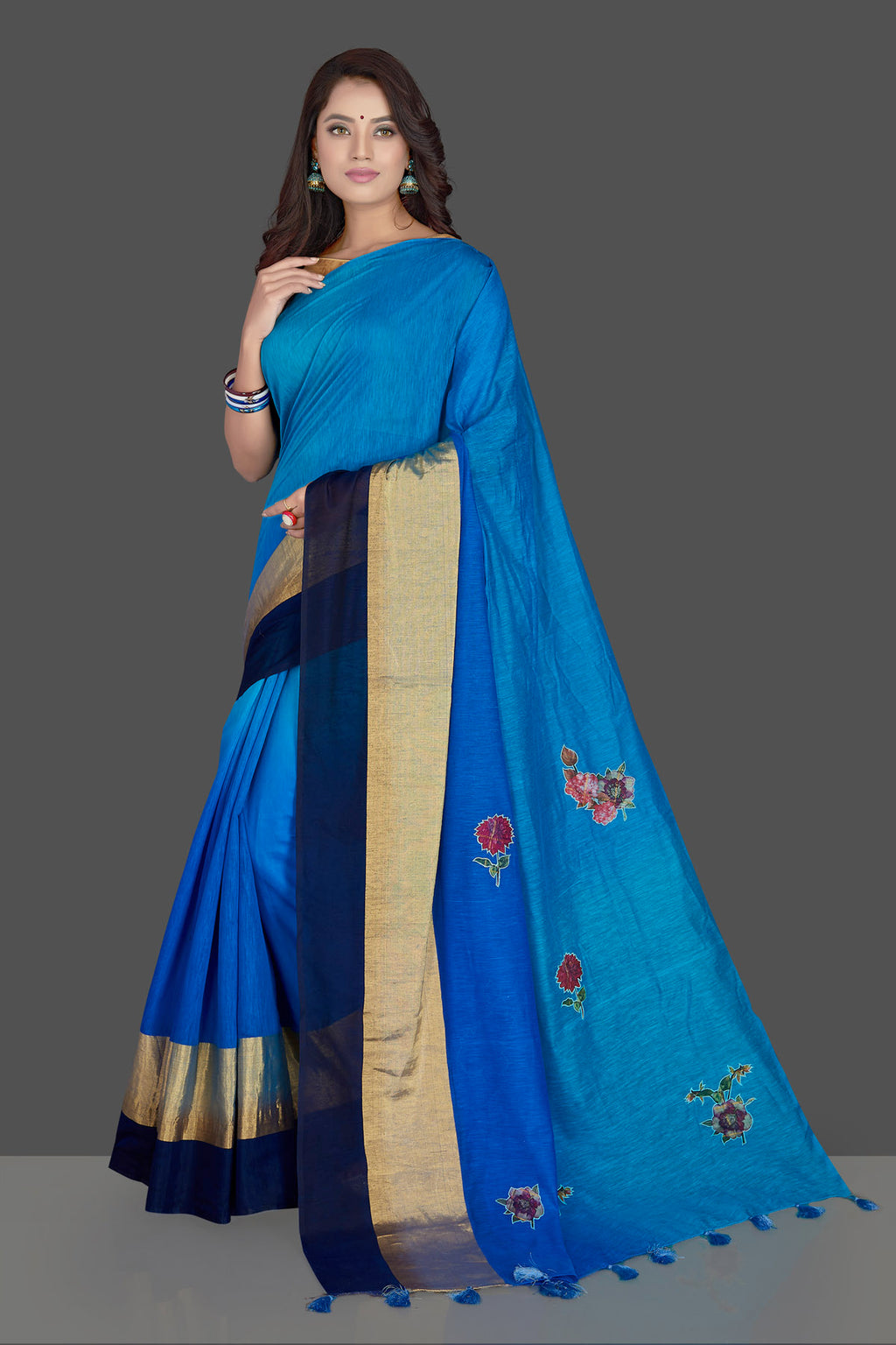 Shop charming blue floral applique linen sari online in USA with powder blue floral saree blouse. Radiate elegance with designer sarees with blouse, linen sarees from Pure Elegance Indian fashion boutique in USA. We bring a especially curated collection of ethnic saris for Indian women in USA under one roof!-full view
