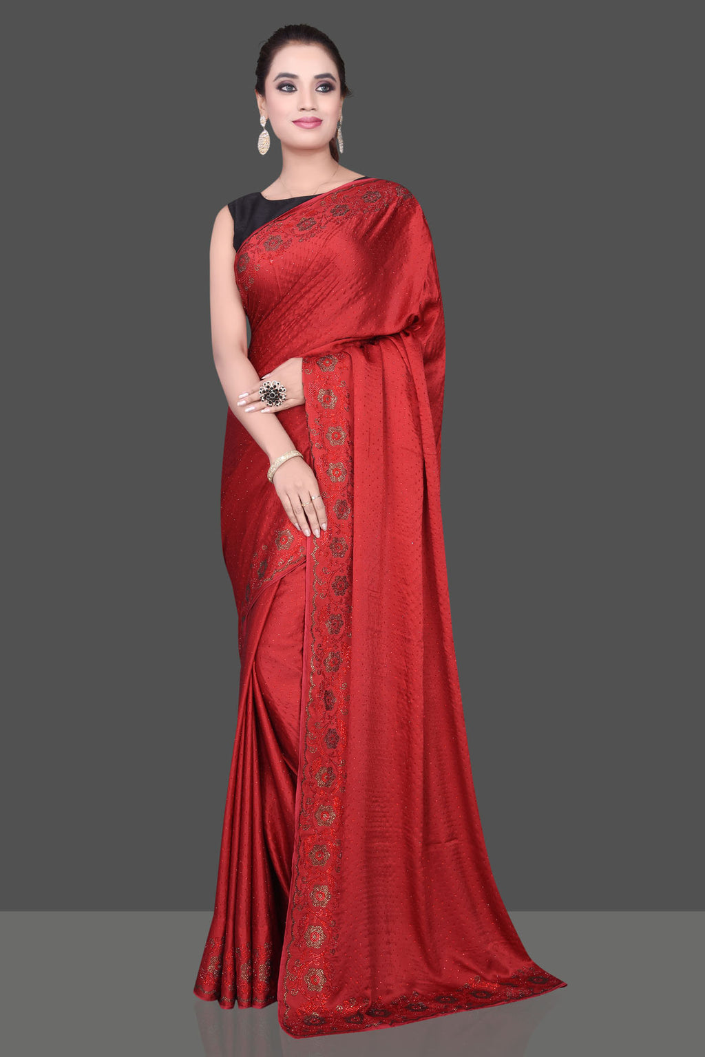 Shop stunning blood red stone work georgette crepe saree online in USA. Be the talk of the parties and special occasions with stunning embroidered sarees, designer sarees, pure silk saris, Bollywood sarees from Pure Elegance Indian fashion store in USA.-full view